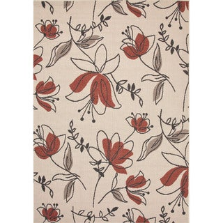 Indoor-Outdoor Floral Pattern Ivory/Red (7.11x10) AreaRug