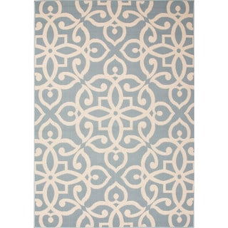 Indoor-Outdoor Geometric Pattern Blue/Brown (7.11x10) AreaRug