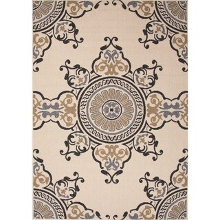 Jaipur Living Indoor-Outdoor Bloom Ivory/Gray Medallion Rug (7'11 x 10')