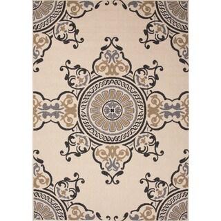 Indoor-Outdoor Oriental Pattern Brown/Grey (7.11x10) AreaRug