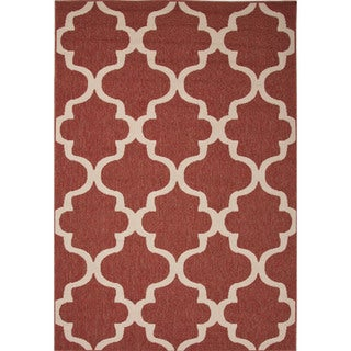 Indoor-Outdoor Geometric Pattern Red/Ivory (7.11x10) AreaRug
