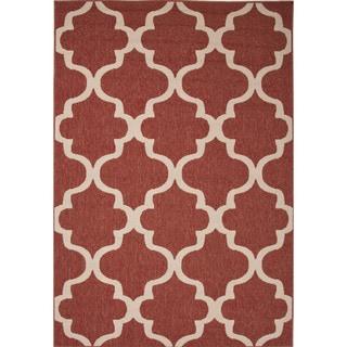 Jaipur Living Indoor-Outdoor Bloom Red Geometric Rug (7'11 x 10')