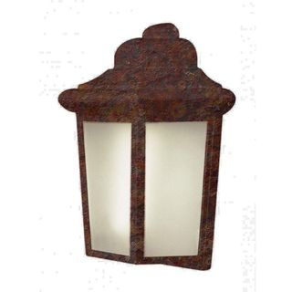 Cambridge Rust Finish Outdoor Wall Sconce with Frosted Shade