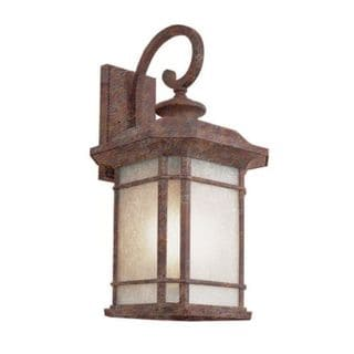 Cambridge Rust Finish Outdoor Wall Lantern with Tea Stain Shade
