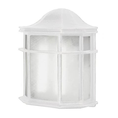 Cambridge White Finish Outdoor Wall Sconce with Frosted Shade