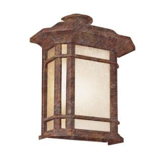 Cambridge Rust Finish Outdoor Wall Sconce with Tea Stain Shade