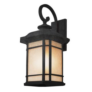 Cambridge Black Finish Outdoor Wall Lantern with Tea Stain Shade
