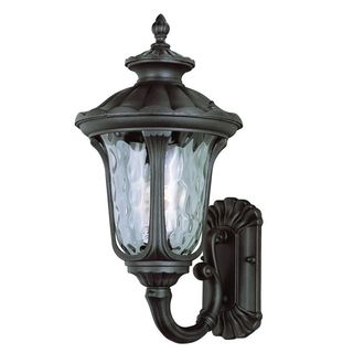 Cambridge Black Finish Outdoor Wall Sconce with Water Shade