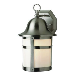 Cambridge Brushed Nickel Finish Outdoor Wall Lantern with White Shade