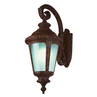 Cambridge Rust Finish Outdoor Wall Lantern with Frosted Shade