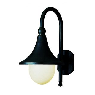Cambridge Black Finish Outdoor Wall Sconce with an Opal Shade