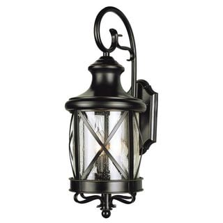 Cambridge Rubbed Oil Bronze Finish Outdoor Wall Lantern with Seeded Shade