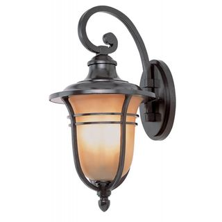 Cambridge Rubbed Oil Bronze Finish Outdoor Wall Lantern with an Amber Glass Shade