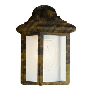 Cambridge Black Gold Finish Outdoor Wall Sconce with Clear Shade