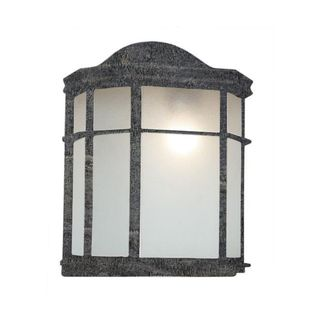 Cambridge Swedish Iron Finish Outdoor Wall Sconce with Frosted Shade