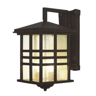 Cambridge Weathered Bronze Finish Outdoor Wall Sconce with Seeded Shade
