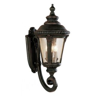 Cambridge Black Copper Finish Outdoor Wall Lantern with Seeded Shade