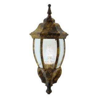 Cambridge Black Gold Finish Outdoor Wall Sconce with Beveled Shade