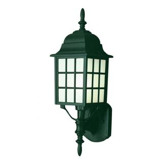Cambridge Verde Green Finish Outdoor Wall Lantern with Frosted Shade