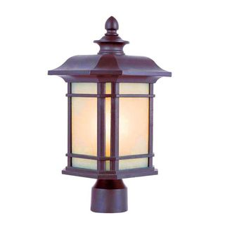 Cambridge Rust Finish Outdoor Post Head with Tea Stain Shade