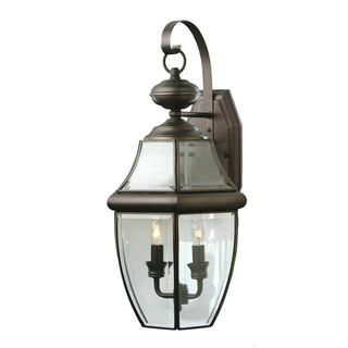 Cambridge Weathered Bronze Finish Outdoor Wall Sconce with Beveled Shade