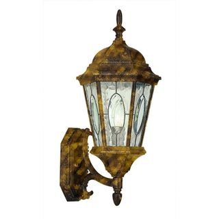 Cambridge Black Gold Finish Outdoor Wall Lantern with Water Shade