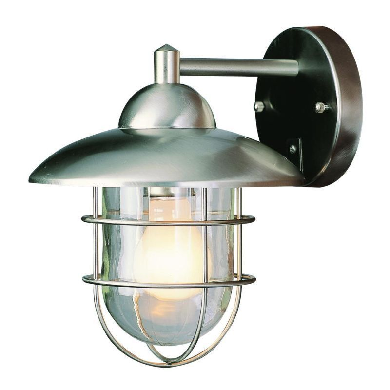 Cambridge Stainless Steel Finish Outdoor Wall Sconce With Clear Shade On Sale Overstock 10029009