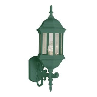 Cambridge Verde Green Finish Outdoor Wall Sconce with Beveled Shade