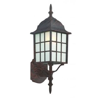 Cambridge Black Copper Finish Outdoor Wall Lantern with Frosted Shade