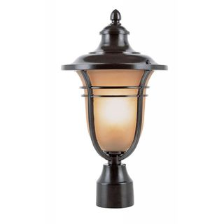 Cambridge Rubbed Oil Bronze Finish Outdoor Post Head with Amber Shade