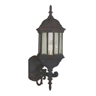 Cambridge Black Copper Finish Outdoor Wall Sconce with Beveled Shade