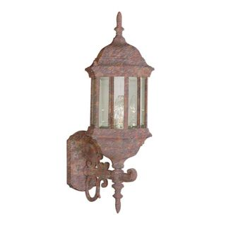 Cambridge Rust Finish Outdoor Wall Sconce with Beveled Shade