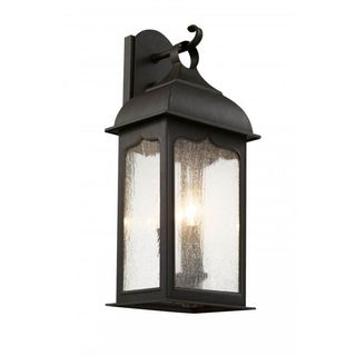 Cambridge Outdoor Rubbed Oil Bronze Finish Wall Sconce with Seeded Shade