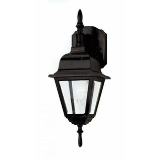 Cambridge Black Finish Outdoor Wall Lantern with Beveled Shade