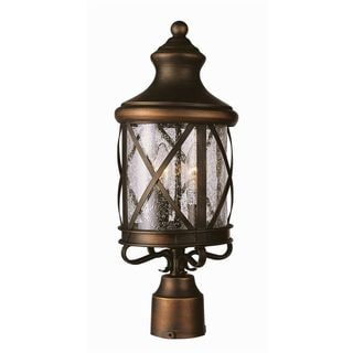 Cambridge Rubbed Oil Bronze Finish Outdoor Post Head with Seeded Shade