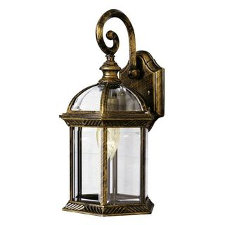 Cambridge Black Gold Finish Outdoor Wall Lantern with Beveled Shade