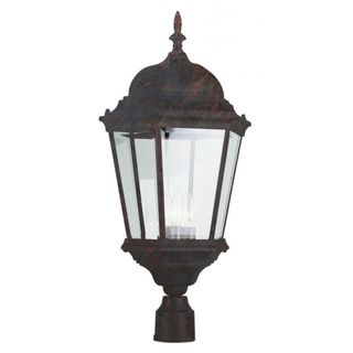 Cambridge Black Copper Finish Outdoor Post Head with Beveled Shade