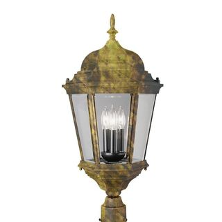 Cambridge Black Gold Finish Outdoor Post Head with Beveled Shade