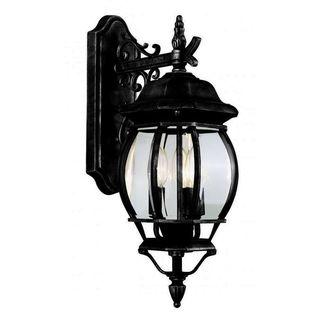 Cambridge Black Finish Outdoor Wall Lantern with Beveled Shade