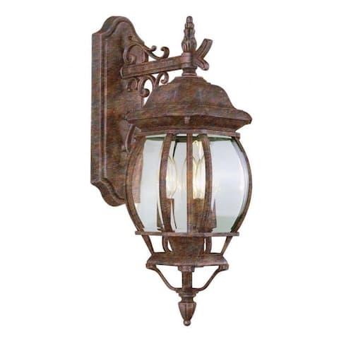 Cambridge Rust Finish Outdoor Wall Lantern with Beveled Shade