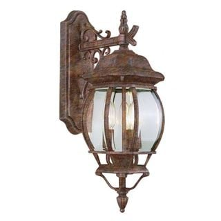 Cambridge Rust Finish Outdoor Wall Lantern with Beveled Shade