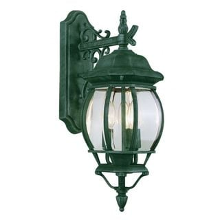 Cambridge Verde Green Finish Outdoor Wall Lantern with Beveled Shade