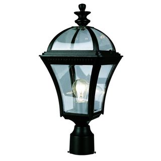 Cambridge Black Finish Outdoor Post Head with Beveled Shade