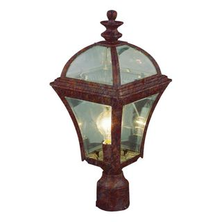 Cambridge Rust Finish Outdoor Post Head with Beveled Shade