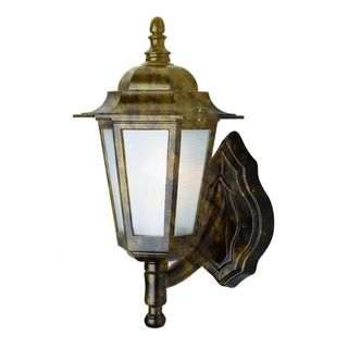 Cambridge Black Gold Finish Outdoor Wall Lantern with Frosted Shade