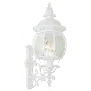 Cambridge Outdoor White Wall Lantern with Beveled Shade