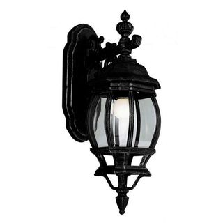 Cambridge Outdoor Black Finish Wall Lantern with Beveled Shade