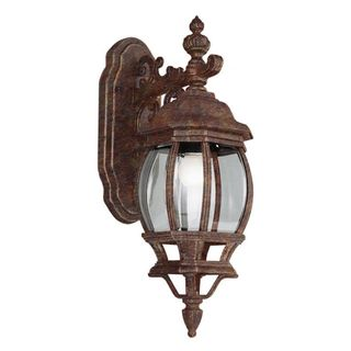 Cambridge Outdoor Rust Wall Lantern with Beveled Shade