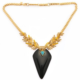 De Buman 18k Rose Gold Plated Mother of Pearl or 18k Yellow Gold Plated Black Agate Gemstone Necklace