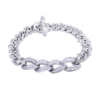 Annello 14k White Gold 2 1/2ct TDW Round-cut Diamond Men's Link Bracelet (G-H, I1-I2)